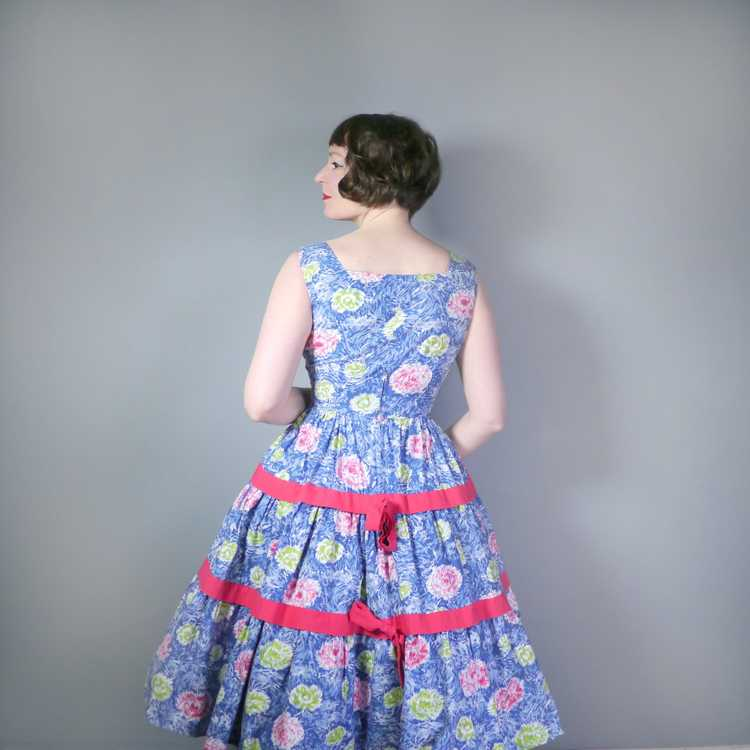 50s FEATHERY FLORAL BLUE COTTON DRESS WITH TIERED… - image 4