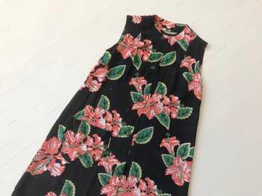 1940s Hibiscus Print Rayon Dress