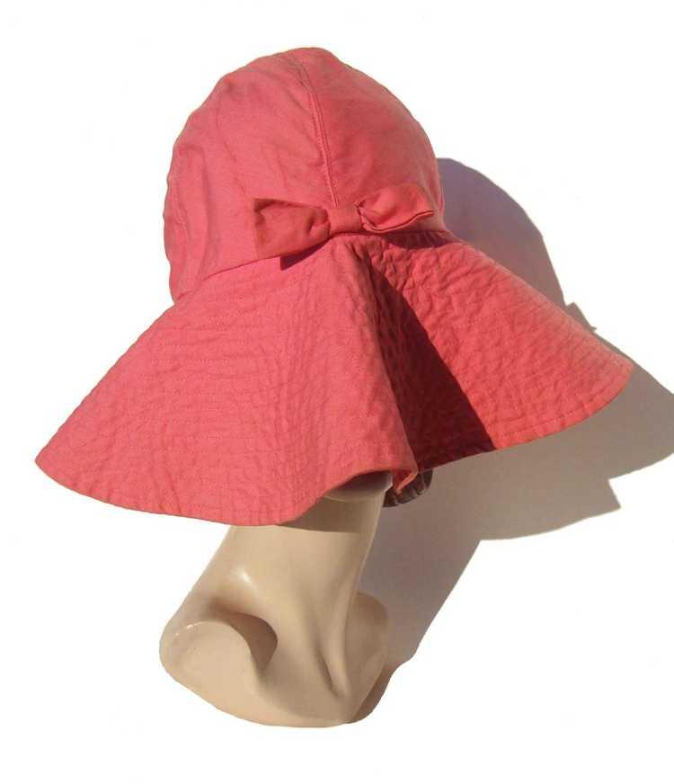 Vintage 50s Pink Beach Hat Ladies Floppy Hat - Bl… - image 3