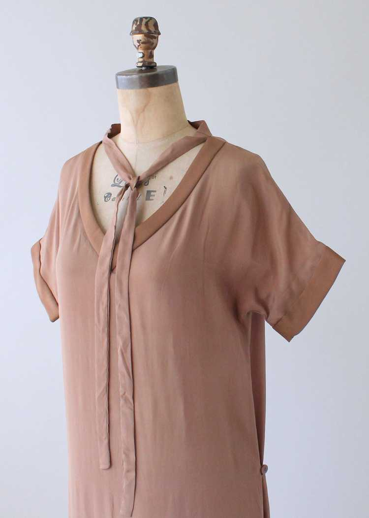 Vintage 1920s Brown Silk Day Dress with Duster Co… - image 8