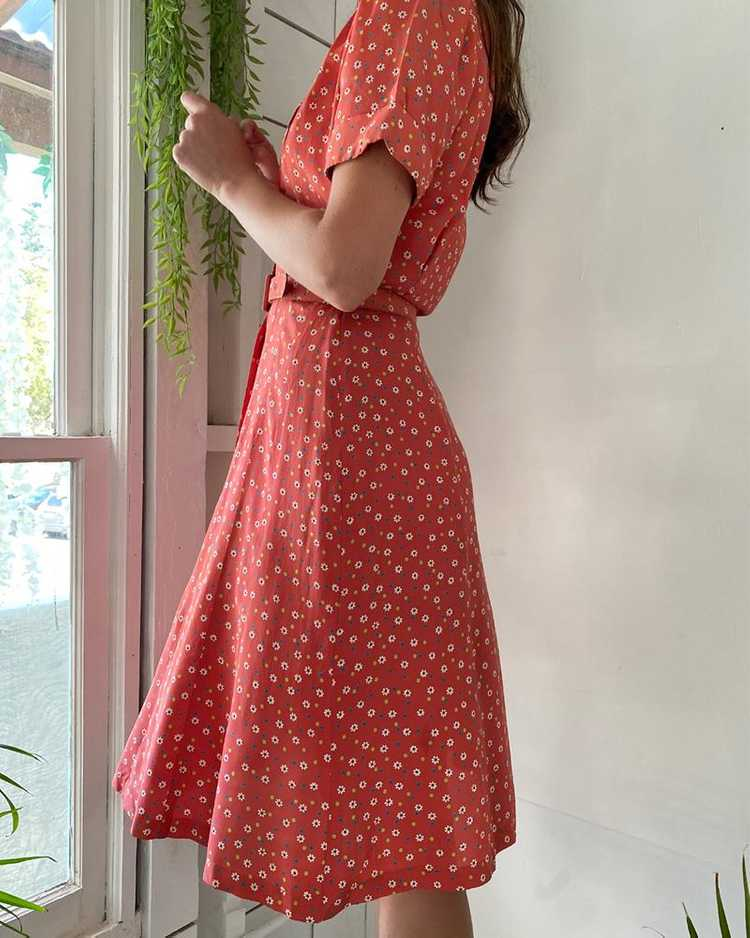 40s Floral Rayon Dress - image 4