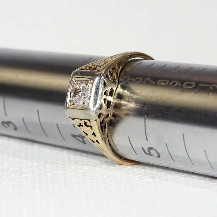 Vintage Gold Diamond Solitaire Ring - image 8