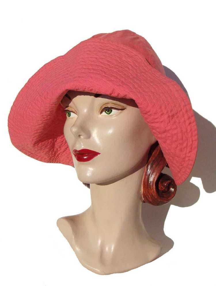 Vintage 50s Pink Beach Hat Ladies Floppy Hat - Bl… - image 2