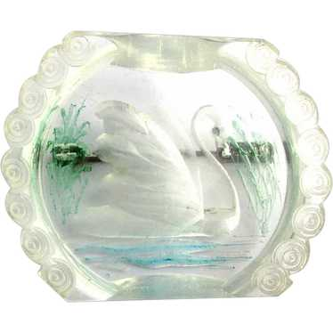 Vintage 1930s Reverse Carved / Painted Lucite SWAN