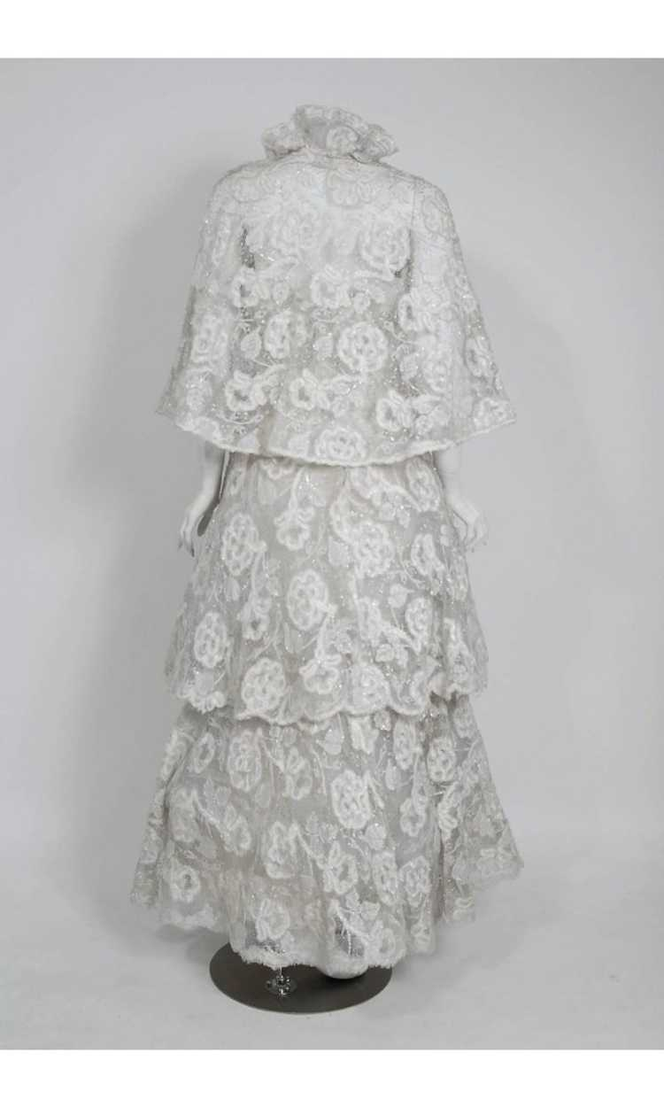 1968 Arnold Scaasi Couture White Embroidered Lace… - image 7