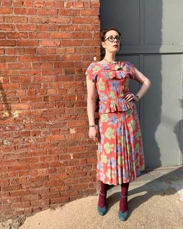 1940s Pink Candy Swirl Dress