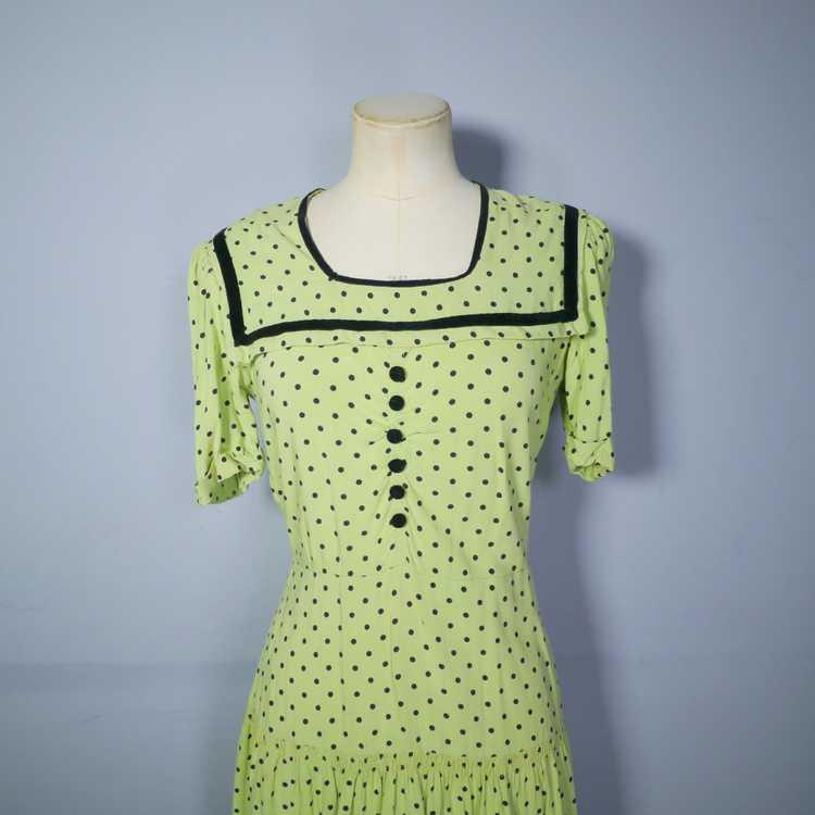 30s 40s LIME GREEN AND BLACK POLKA DOT TEA DRESS … - image 6