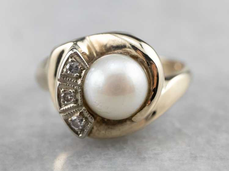 Vintage Pearl and Diamond Ring - image 2