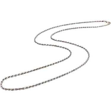 14K White Gold Flattened Link Chain Necklace