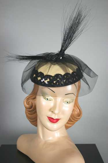 Tall black feathers cocktail hat fascinator 80s 19