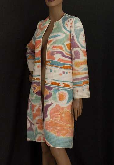 Mary McFadden quilted silk evening coat, c.1980