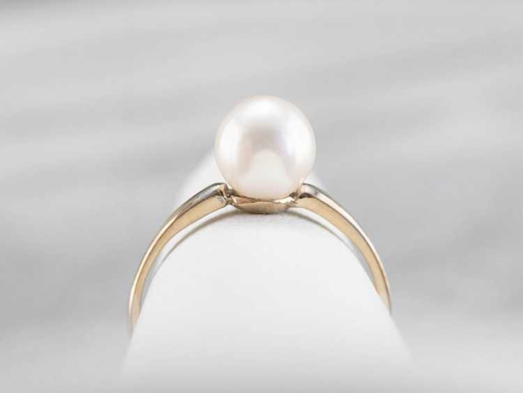 Pearl White Gold Solitaire Ring - image 8