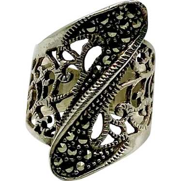 Vintage Sterling Silver Ornate Marcasite Black Onyx Ring Size 7.5 Weighs 6.0g