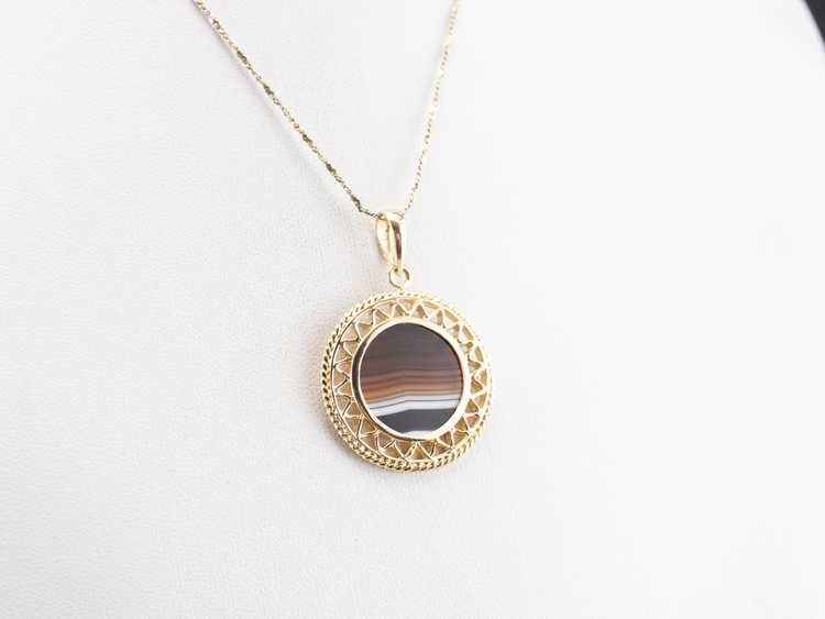 Mid Century Banded Agate Pendant - image 8