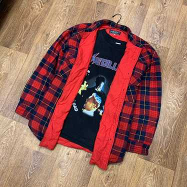1990s Oshkosh B/'Gosh Vintage plaid flannel with quilted lining