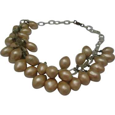 Faux Pearl celluloid Chain Necklace 1940