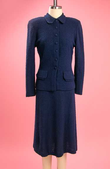 Vintage 1940's Navy Blue Wool Bouchle Knit Set by