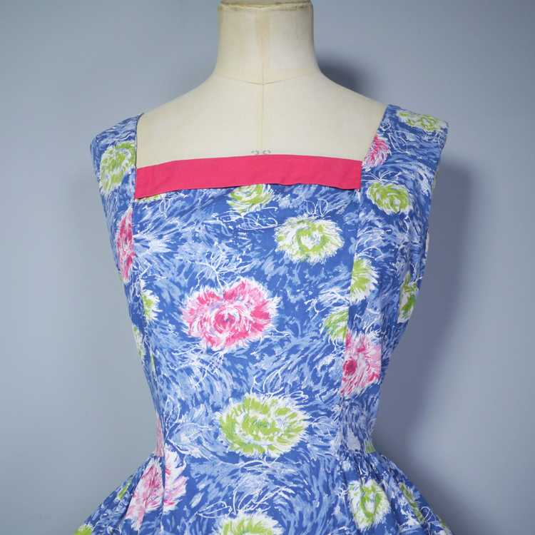 50s FEATHERY FLORAL BLUE COTTON DRESS WITH TIERED… - image 7