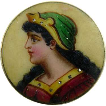 Antique Portrait Pin Brooch Limoges Enamel