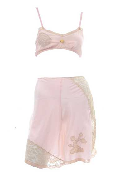 1930's Pink Silk Bra & Tap Pants Set w/ Lace Detai