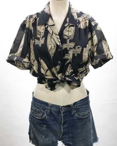 1980's Mondi Feather Print Cotton Top