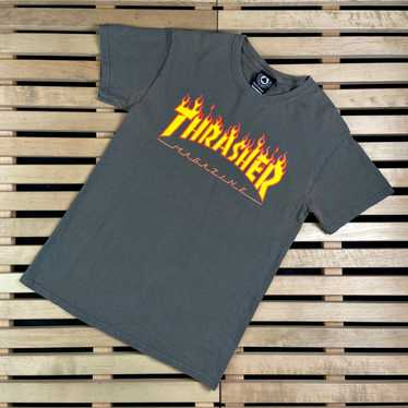 Medium Thrasher Magazine Outlined Embroider Black Mens Long Sleeve T-Shirt