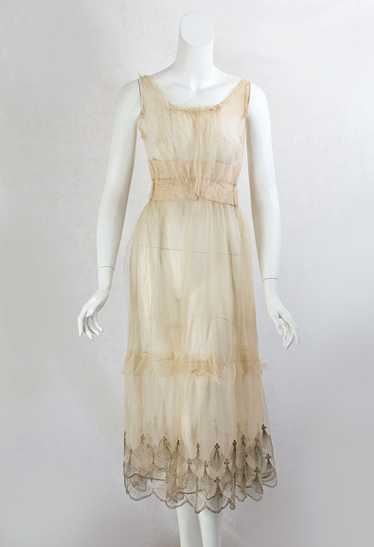 Metallic embroidered tulle underdress, c.1915