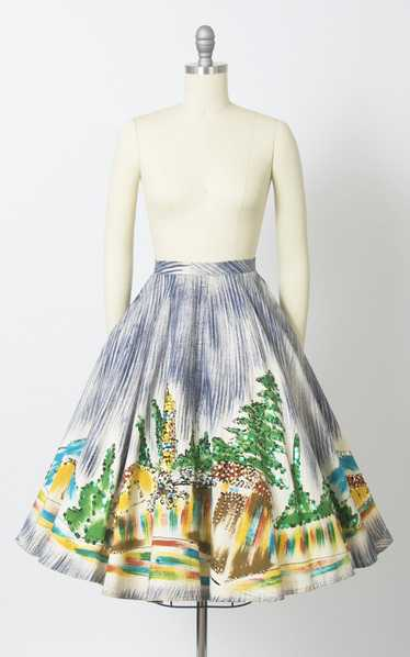 1950s Mexican Hand-Painted Novelty Print Sequin Ci