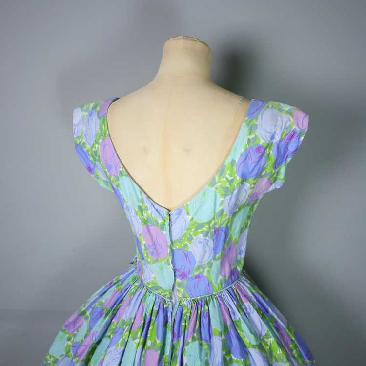 50s FLORAL ROSE DRESS IN BLUE, GREEN AND LILAC CO… - image 10