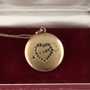 Victorian Locket, Heart with Pastes, Gold Fill