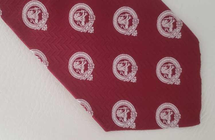 Lanvin Lanvin silk neck tie 1970s red white lions - image 2