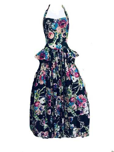 40s Black Floral Halter Gown with Peplum