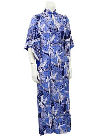 Blue Hawaiian Print Rayon Hostess Gown