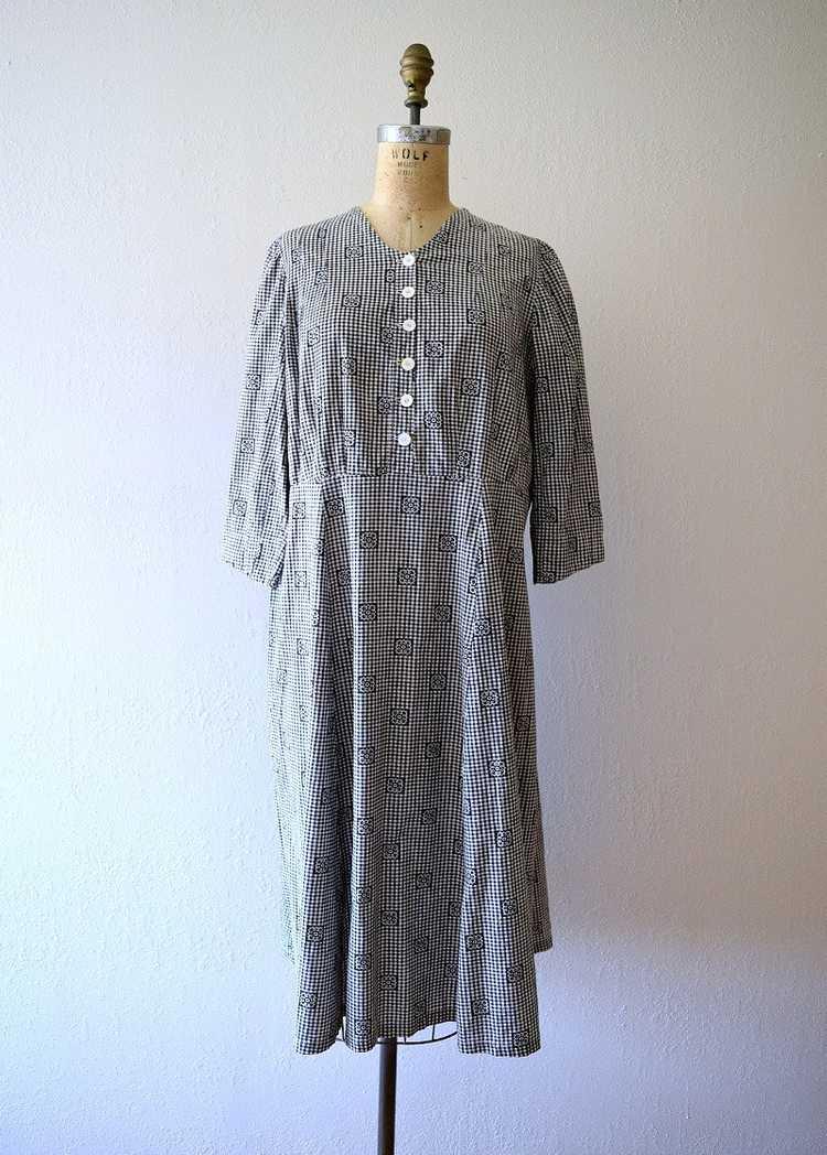 Antique calico dress . vintage gingham dress - image 2