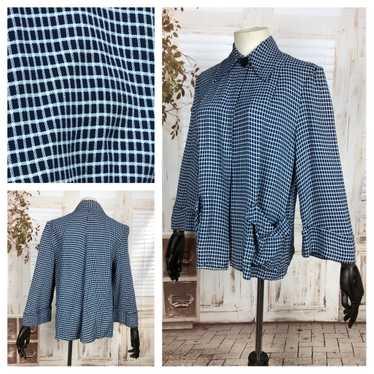 Original 1940s 40s Vintage Blue Check Sportswear S