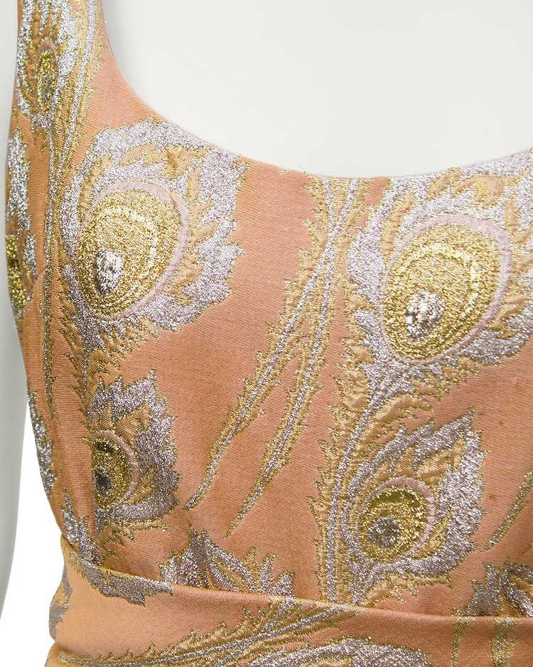 Ceil Chapman Pink and Metallic Brocade Gown - image 4