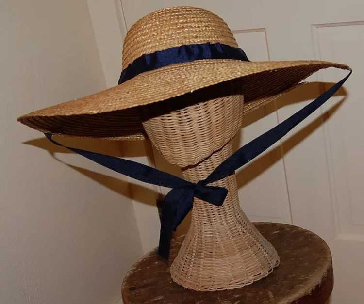 Wide Brimmed Straw Hat Women's 19th c Rural Style - image 3
