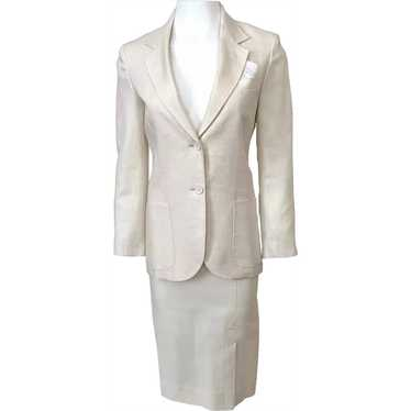 Vintage 1960s Womens Cream Linen Jacket Skirt Suit