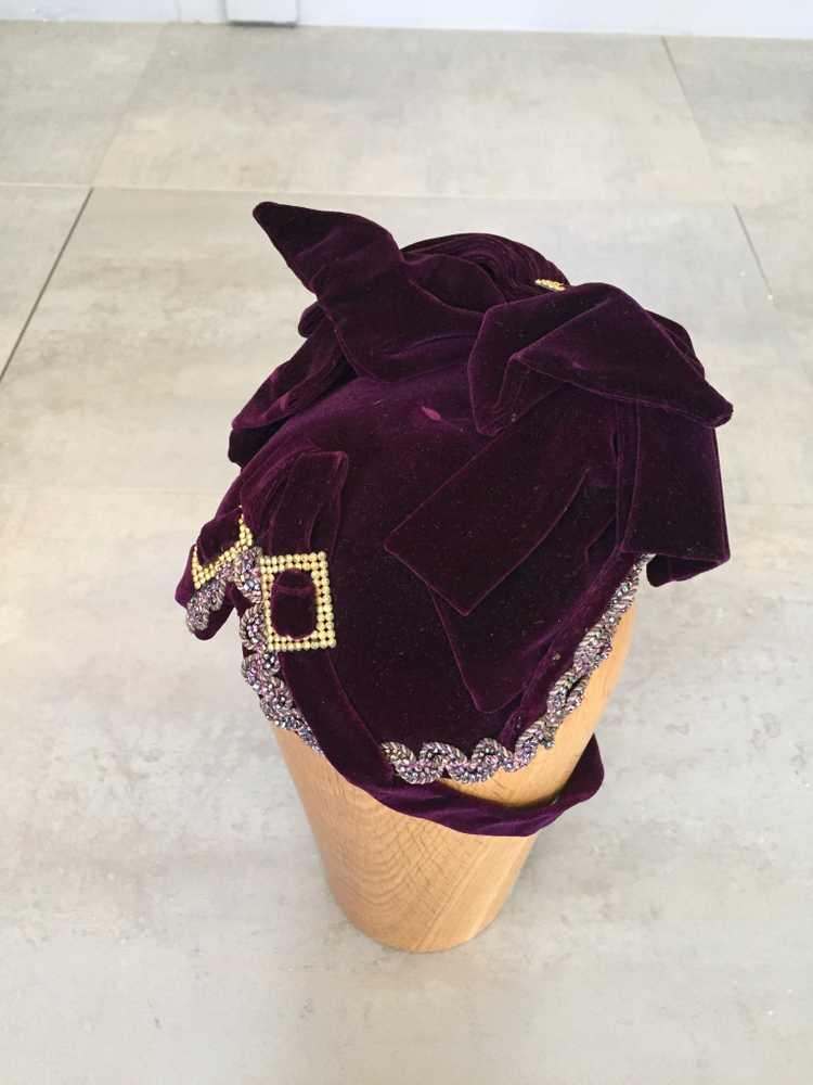 Purple Velvet Victorian Hat Bonnet - image 1