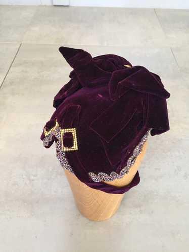 Purple Velvet Victorian Hat Bonnet
