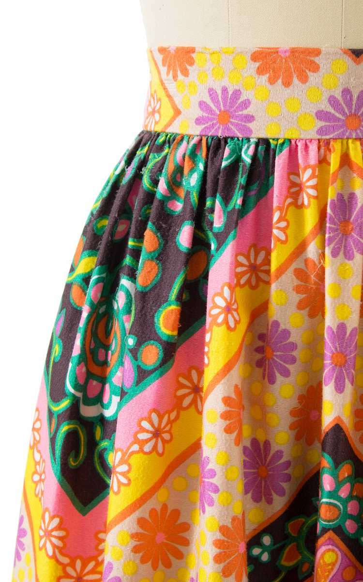 NEW ARRIVAL || 1960s Floral Geometric Maxi Skirt … - image 6