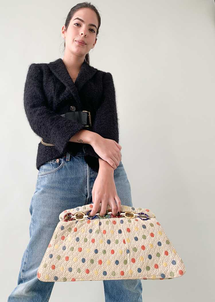 Vintage 1940s Fabric Clutch with Celluloid Rings - image 3