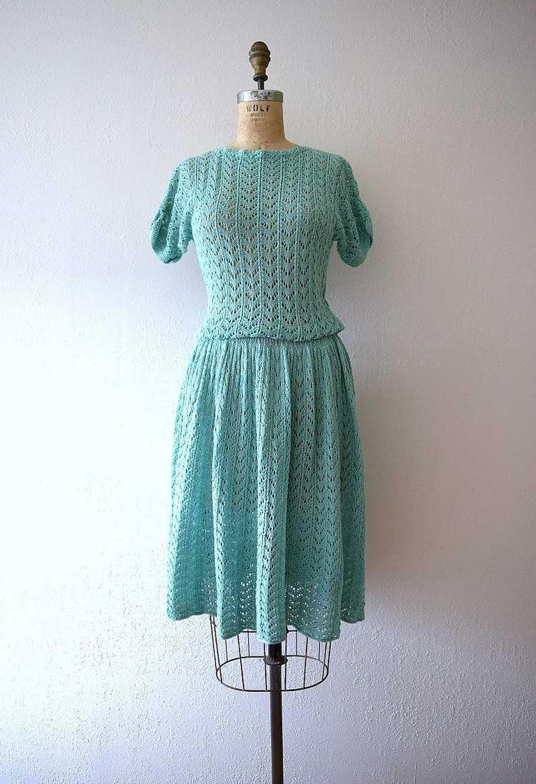 1940s knit dress . vintage green knit dress - image 2