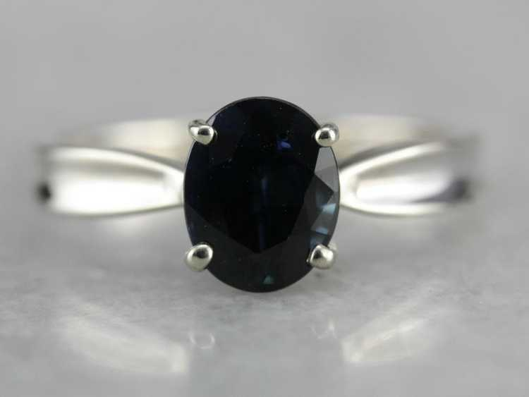 White Gold Sapphire Solitaire Ring - image 1