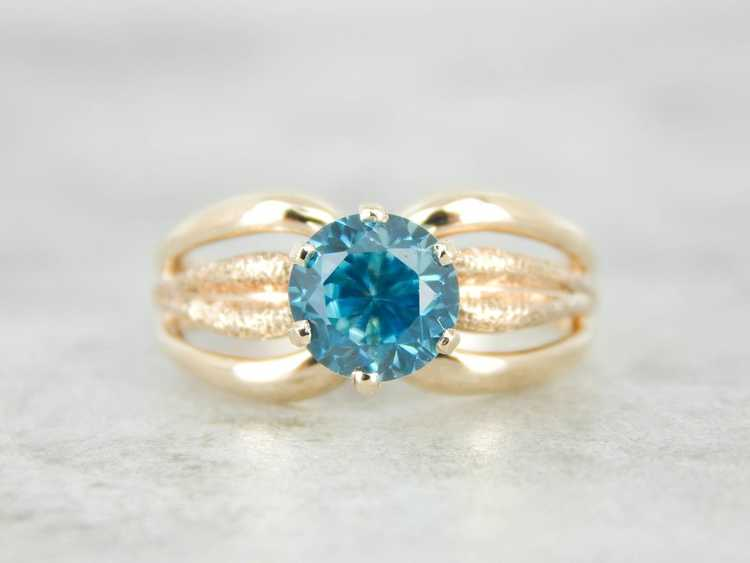 Blue Zircon Gold Solitaire Ring - image 2