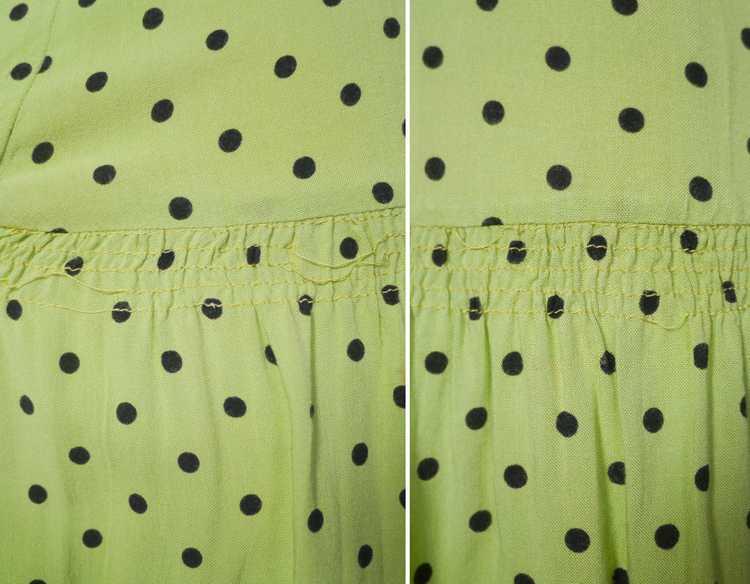30s 40s LIME GREEN AND BLACK POLKA DOT TEA DRESS … - image 12