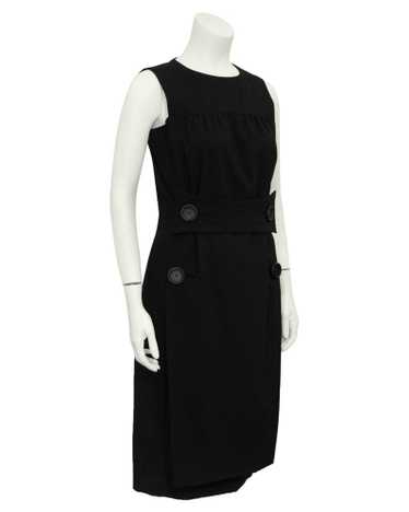 Galanos Black Cocktail Dress with Leather Buttons