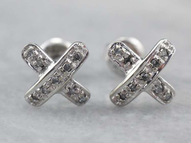 Diamond X Stud Earrings - image 2