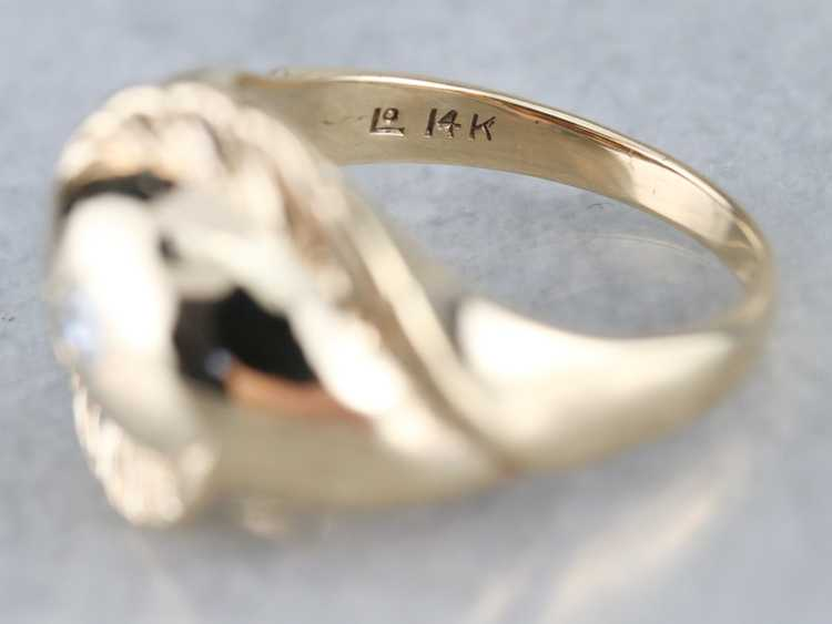 Diamond Solitaire Gold Feather Ring - image 4