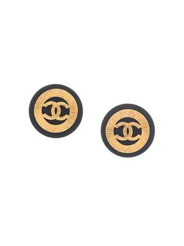 Chanel Pre-Owned CC huge button earrings - Black